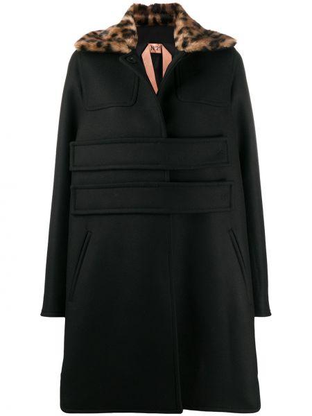 С рукавами черное шерстяное пальто с воротником N°21