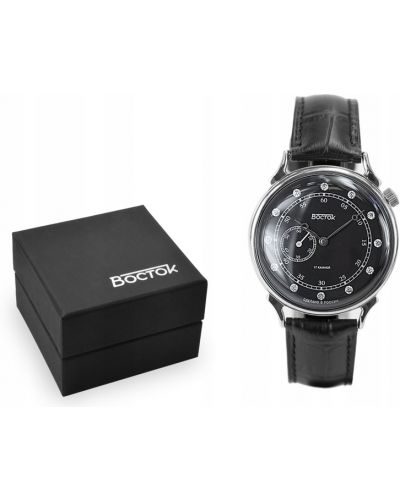 Klasyczny czarny zegarek mechaniczny srebrny Vostok