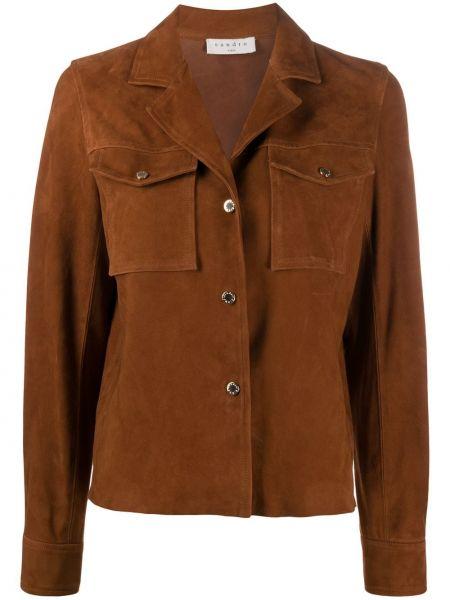 С рукавами коричневый кожаный удлиненный пиджак Sandro Paris