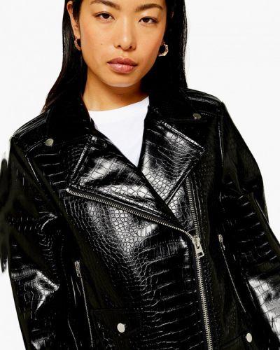 Кожаная куртка черная осенняя Topshop