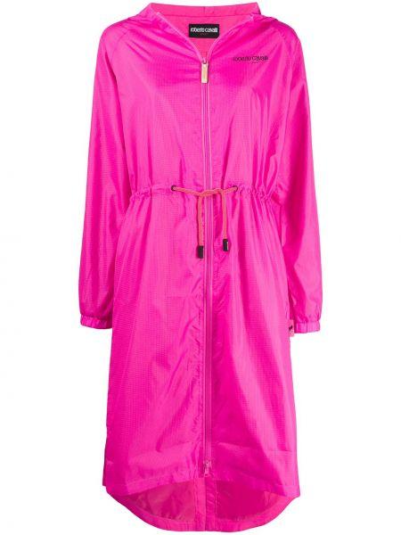 С рукавами розовое пальто классическое с капюшоном Roberto Cavalli