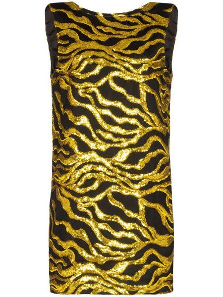 Złota czarna sukienka mini bez rękawów Halpern