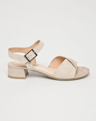 Бежевые сандалии на каблуке Caprice
