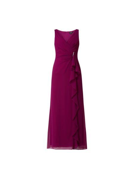Różowa sukienka wieczorowa z szyfonu z dekoltem w serek Lauren Ralph Lauren