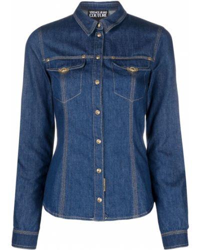 Синяя джинсовая рубашка с воротником с длинными рукавами Versace Jeans Couture