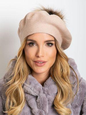 Różowy beret materiałowy Fashionhunters