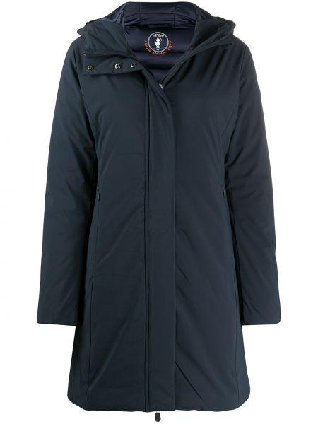Синее пальто классическое с капюшоном на молнии Save The Duck