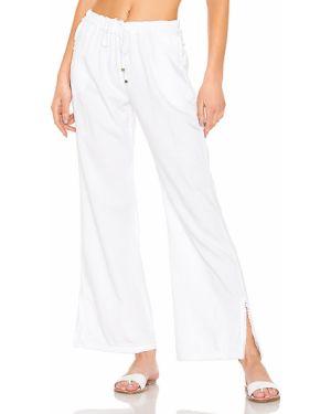 Białe spodnie bawełniane z paskiem Yfb Clothing