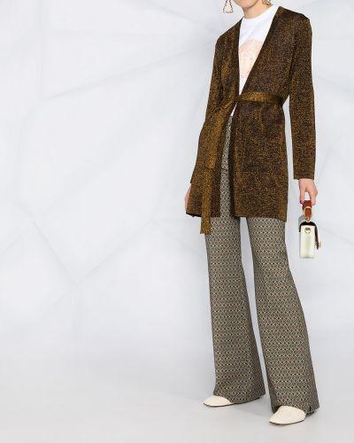Черное вязаное длинное пальто с V-образным вырезом Missoni