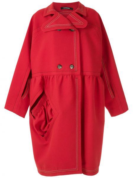 Свободное красное пальто классическое оверсайз à La Garçonne