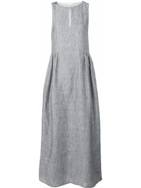 Серое приталенное платье без рукавов с вырезом Fabiana Filippi
