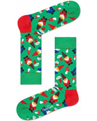 Зеленые колготки с узором Happy Socks