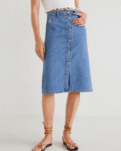 Джинсовая юбка синяя осенняя Mango