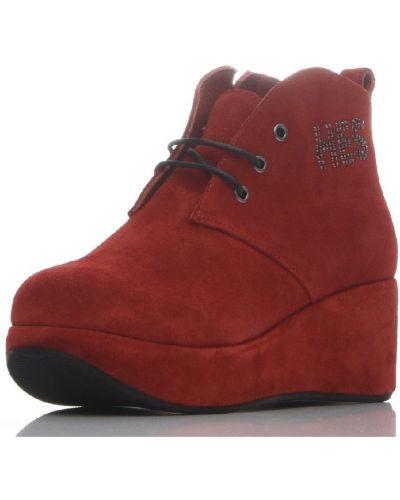 Красные кожаные ботинки на шнуровке Hestrend