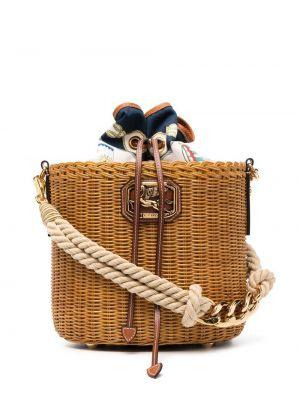 Плетеная коричневая сумка на плечо с нашивками Etro