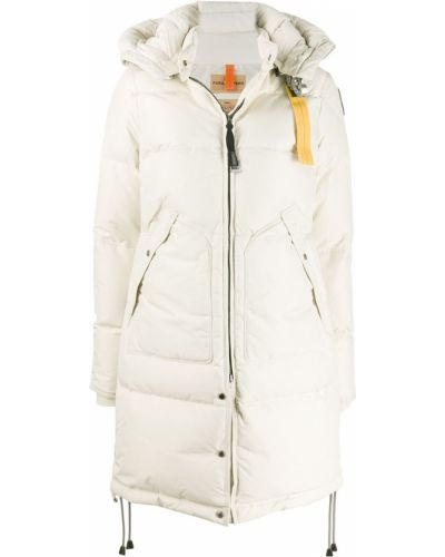 Белое пуховое длинное пальто с капюшоном Parajumpers