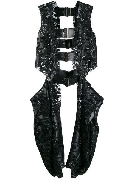 Черная кожаная жилетка с карманами Comme Des Garçons