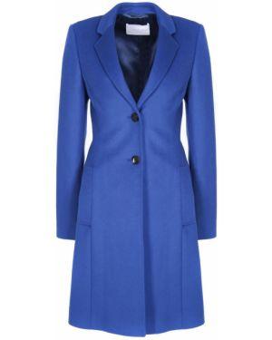 Синее деловое шерстяное пальто классическое с воротником Hugo Boss