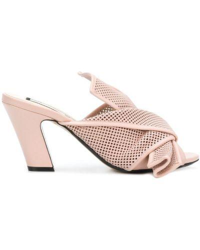 Мюли кожаные розовый N21