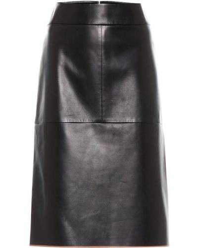 Prążkowana czarna spódnica midi skórzana Tod's