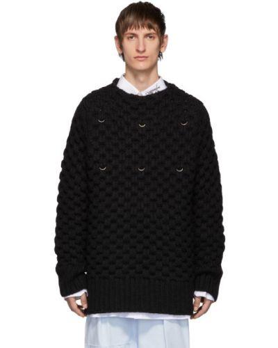 Черный шерстяной длинный свитер с воротником Raf Simons