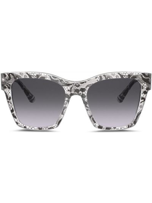 Ażurowe czarne okulary z printem Dolce & Gabbana Eyewear