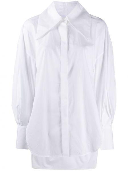 Biały bluzka z kołnierzem zapinane na guziki z mankietami Enfold