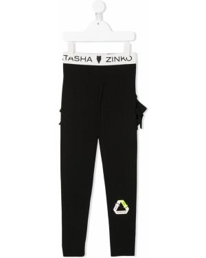Хлопковые черные брюки эластичные Natasha Zinko Kids
