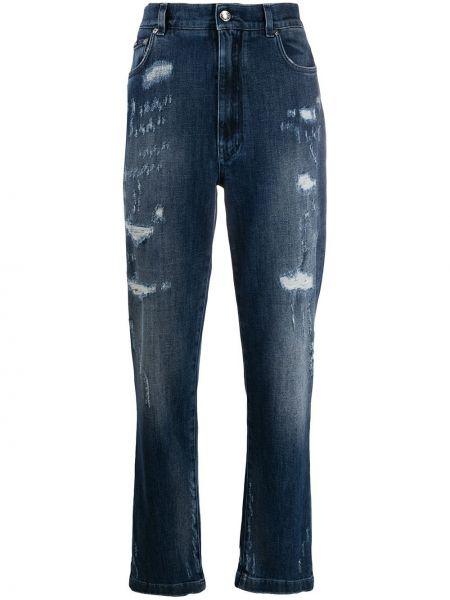 Bawełna niebieski klasyczny jeansy z kieszeniami z ozdobnym wykończeniem Dolce And Gabbana