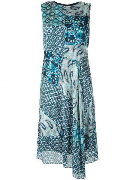Niebieska sukienka asymetryczna z kapturem Elie Tahari