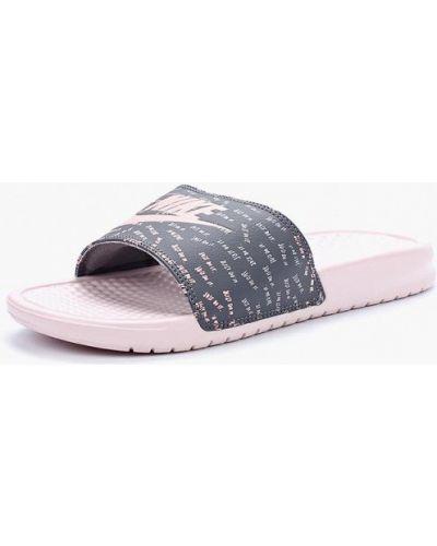 Розовые кожаные сланцы Nike