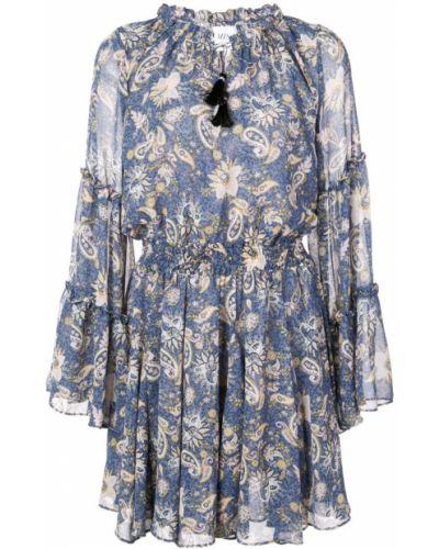 Платье с поясом расклешенное синее Misa Los Angeles