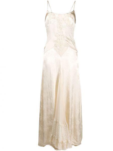 Sukienka długa koronkowa z wiskozy w kwiaty Antonio Marras