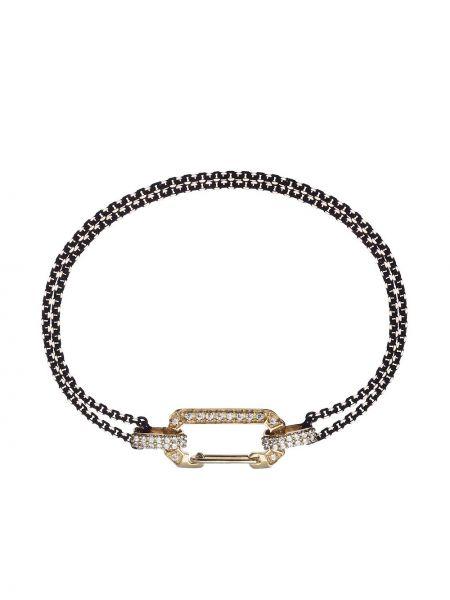 Ażurowa złota bransoletka łańcuch z diamentem Eera