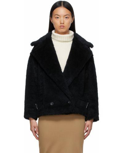Черная кожаная куртка длинная Max Mara