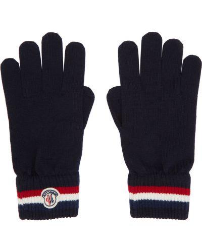 Białe rękawiczki wełniane w paski Moncler
