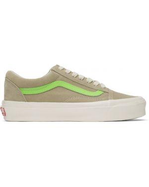 Skórzane sneakersy białe z logo Vans