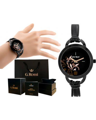 Klasyczny czarny zegarek na skórzanym pasku skórzany Gino Rossi