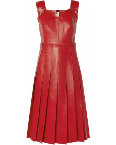 Плиссированное кожаное красное платье Marni