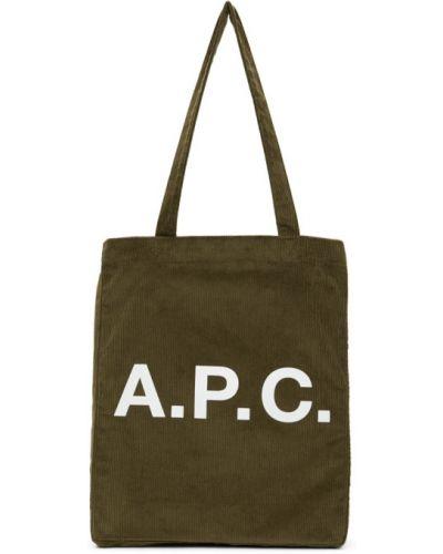 Zielony włókienniczy bawełna torba na zakupy z łatami A.p.c.