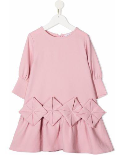 Розовое платье с рукавами с вырезом круглое трапеция Owa Yurika