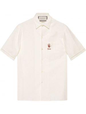 Biała koszula bawełniana z haftem Gucci
