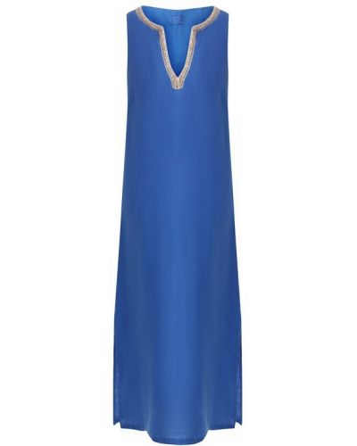Платье макси длинное - синее 120% Lino
