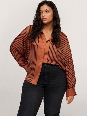 Коричневая блузка осенняя Violeta By Mango