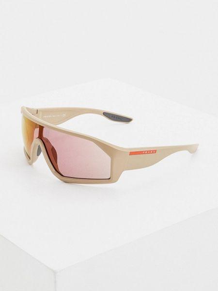 Коричневые спортивные солнцезащитные очки с завязками Prada Linea Rossa