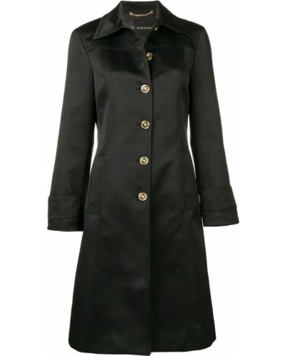 Однобортное черное длинное пальто с капюшоном Versace