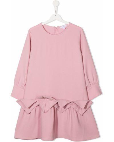 С рукавами розовое платье с рукавами с вырезом круглое Owa Yurika