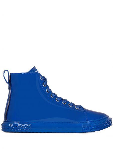 Skórzany wysoki sneakersy z łatami na sznurowadłach okrągły Giuseppe Zanotti