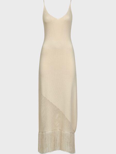 Бежевое платье из вискозы Pinko