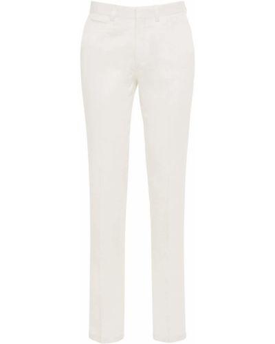 Белые брюки на молнии из габардина Brioni